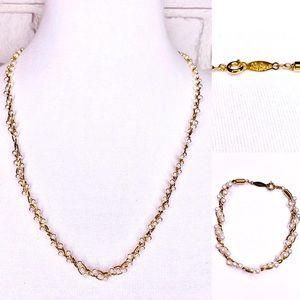 Napier Mini Pearl Gold Chain Necklace Bracelet Set
